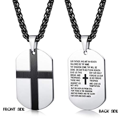 Jstyle Stainless Steel Cross Necklace for Mens Dog Tag Pendant Prayer Cross Necklaces Bible Verse 24Inches (Bible Verse Prayer)