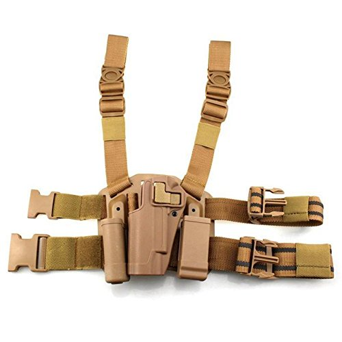 (quanlei Tactical 1911 Leg Holster Left Hand Paddle Thigh Belt Drop Pistol Gun Holster with Magazine Torch Pouch for Colt 1911 (Tan))