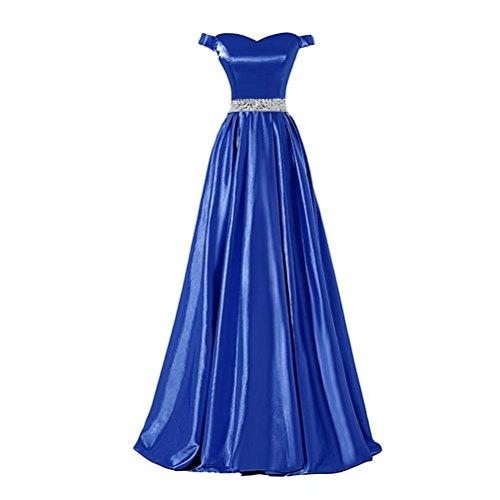 Ainidress Satin Au Large Des Robes De Bal Épaule Longues Robes De Soirée Avec Des Perles Bleues