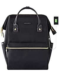 Laptop Backpack 15.6 Inch Stylish School Computer Backpack Doctor Bag Water Repellent College Casual Daypack with USB Port Travel Business Work Bag for Men/Women-Black