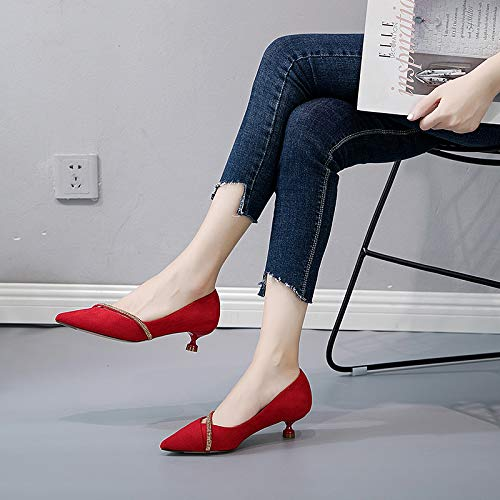 Shallow Middle Heel Shoes KPHY Heel Fine gules Hair Mouth Sequins Bridesmaids And Commuter Pointed Fresh Autumn Cat Shoes qwXxaXHYPy