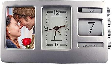 Desk Clock in Cast Aluminum Frame – Analog Clock Calendar Photo Frame.