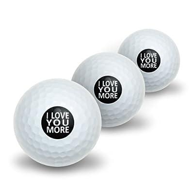 I Love You More on Black Novelty Golf Balls 3 Pack