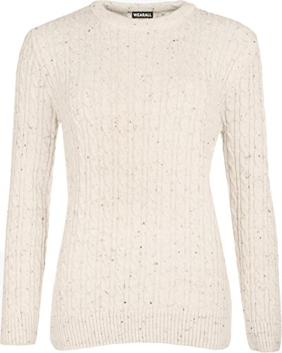 WearAll Women's Cable Knit Long Sleeve Top Jumper - Cream Fleck - US 12-14 (UK 16-18) ()