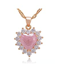 Bouyapei Jewelry 18K Gold Plated Pink Rose Blue Quartz Crystal Love Heart Gemstone Pendants Necklaces for Women Girls Lady