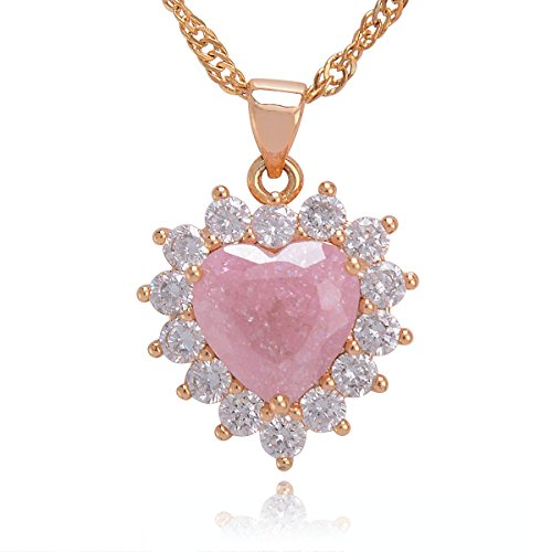 - Bouyapei 18K White Golden Plated Natural Blue Rose Pink Crystal Quartz Gemstone Love Heart Pendant Necklace 18'' Inches Jewelry Gifts for Women Girls