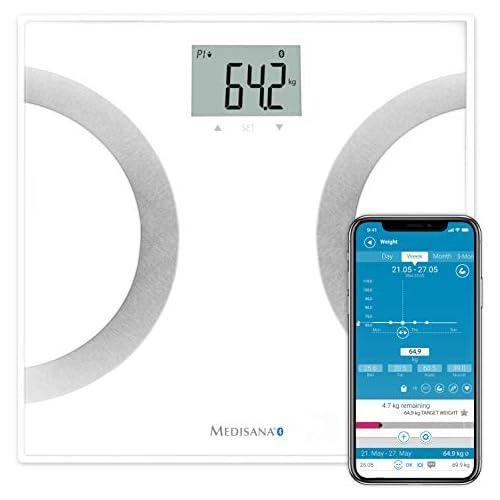 chollos oferta descuentos barato Medisana BS 445 Connect Báscula analítica digital de 180 kg personal para medir la grasa corporal el agua co