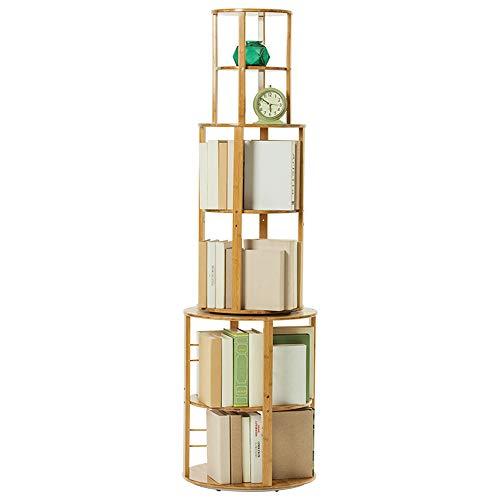Shelves MEIDUO Swivel Bookcase 360° Bamboo Bookshelf Revolving Bookcase Organizer Cabinet Rack for DVD's or Books ()