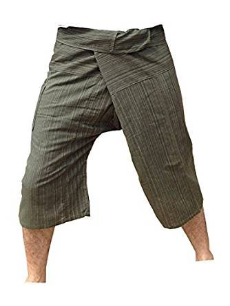 Thai Fisherman Pants Yoga Trousers Free Size 3/4 Cotton Stripe-Olive Green Thailand