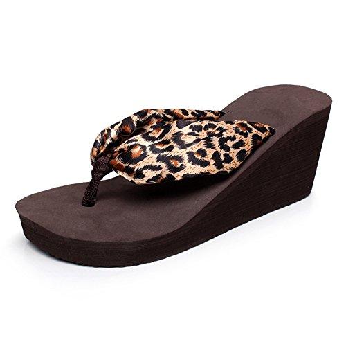 Fereshte Kvinners Jenter Bohem Satin Blomster Kile Sandaler Strand Thongs Flip Flops 1446-leopard