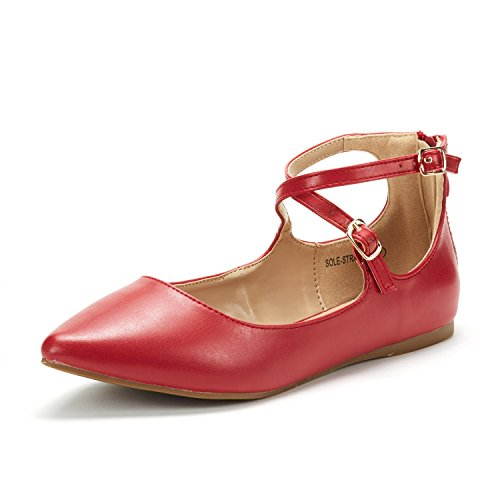 Ankle Strap Flat Shoes (Dream Pairs Women's Sole-Strappy Red Pu Ankle Straps Flats Shoes - 7.5 M US)