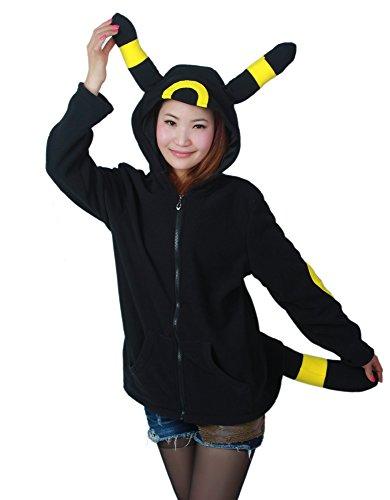 Pokemon Hoodies With Ears (Es Unico Pokemon Umbreon Hoodie For Adult and Teens (Large))