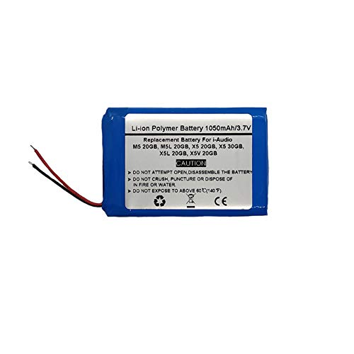 1050mAh/3.7V Replacement Battery i-Audio M5 20GB, M5L 20GB, X5 20GB, X5 30GB, X5L 20GB, X5V 20GB