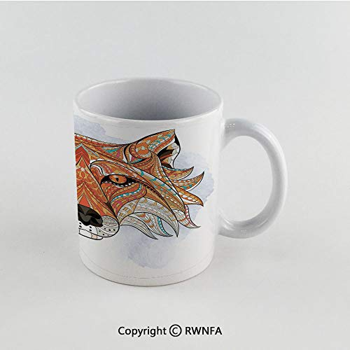 11oz Unique Present Mother Day Personalized Gifts Coffee Mug Tea Cup White Tribal,Primitive Red Fox Face with African Ornaments Totem Animal Design,Orange Amber Funny Ceramic Coffee Tea Cup for Offic