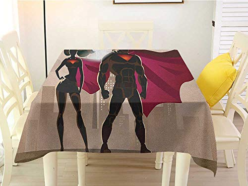 L'sWOW Square Tablecloth Waterproof Superhero Super Woman and Man Heroes in City Solving Crime Hot Couple in Costume Beige Brown Magenta Stripe 60 x 60 Inch