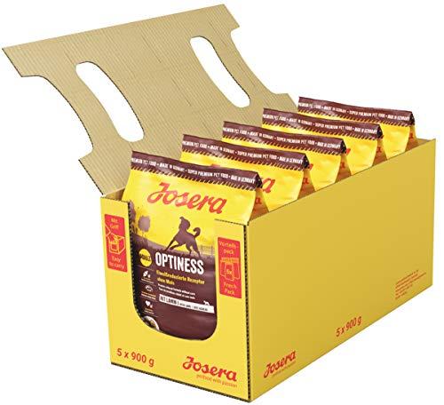 JOSERA Optiness (5 x 900 g) | Hundefutter mit eiweißreduzierter Rezeptur ohne Mais | Super Premium Trockenfutter für…