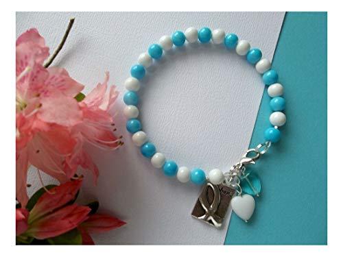 Cervical Cancer Awareness White/Teal Beaded Hope Bracelet W/Ribbon Charm/Heart - Beaded Hearts Socks