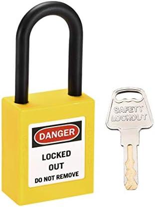 uxcell ロックアウトタグアウトロック 38mmシャックルキー同様安全パドロックプラスチックロックイエロー