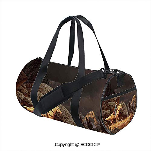 Men's Sports Shoulder Bags,Rock Mountain Scene Landscape with a Cowboy Riding Horse North America Style Folk Print DecorativeEasy to Carry,(17.6 x 9 x 9 in) Gold Grey