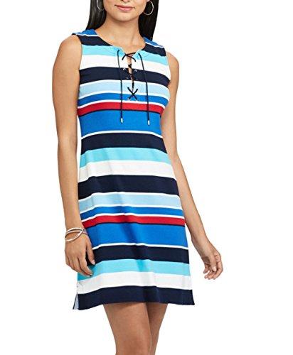 Chaps Women Striped Lace up Dress (Multi, (Chaps Womens Dress)