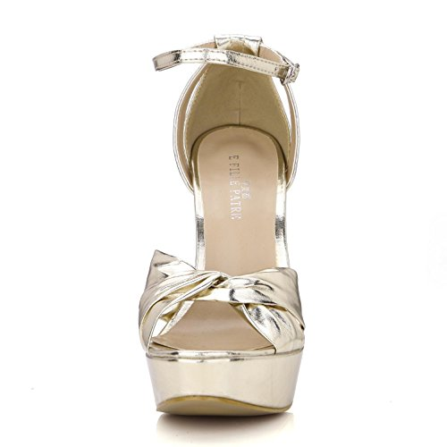 Best 4U? Women's Summer Sandals Premium PU Basic Pumps Bow One Buckle Zipper 14CM High Heels Rubber Sole Casual Style Shoes Gold k0K5U