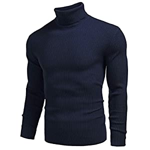 COOFANDY Mens Jumper Turtleneck Sweater Basic Pullovers Slim Fit Knitwear