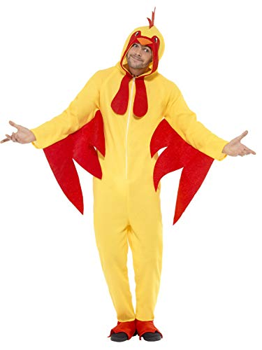 Unisex Chicken Suit Animal Costume - Promotional Mascot, Dress Up Parties, Fuzzy Chicken, Zip Up Onesie - Yellow, Size Medium -