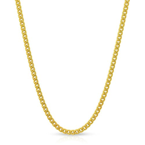 10k Yellow Gold 2mm Solid Miami Cuban Curb Link Thick Necklace Chain 16'' - 30'' (20) by In Style Designz