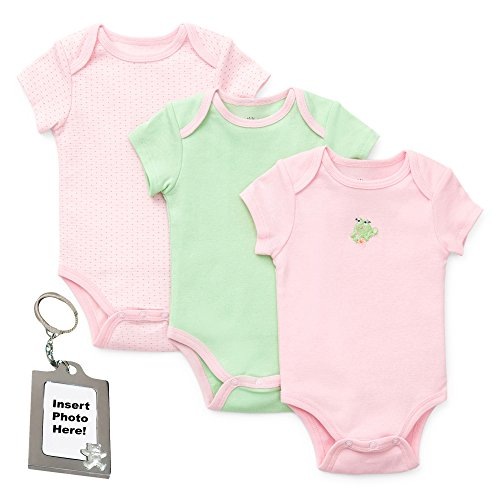 Little Me Baby-Girls Pink Green Frog Solid Ringer Bodysuits Keychain 3 mth
