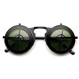 zeroUV - Full Metal Flip-Up Bullseye Target Crosshair Steampunk Sunglasses (Black)
