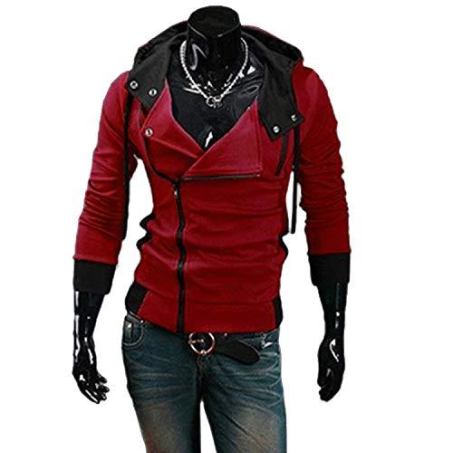 l Cardigan Men Hoodie SweatLong Sleeved Slim Fit Male Zipper Hoodies Assassins Creed Jacket M-6XL Red Wine 6XL ()