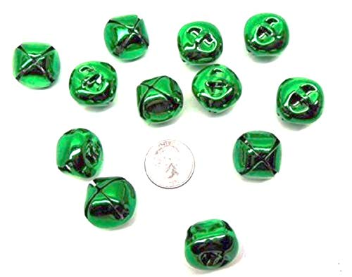 elpishop New Red + Green Jingle Bells ~ 25mm 1'' Metal w/Loop Mix or Get One Color Christmas Color Green (12 Bells)