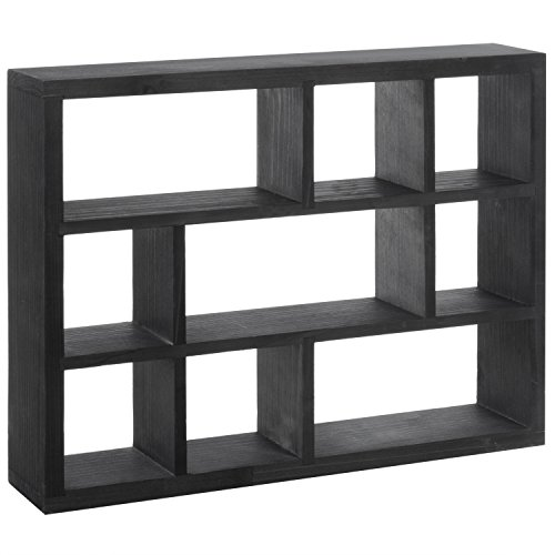 - MyGift 15-Inch Wall-Mounted (Vertical or Horizontal) 9-Slot Rustic Wood Floating Shelves/Freestanding Shadow Box, Black