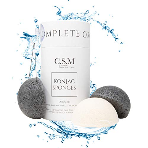 Organic Konjac Sponges 3 Pack Exfoliating