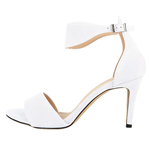 HooH Women's Flannel Simple Ankle Strap Dress Sandals White 4cJTM03o6k