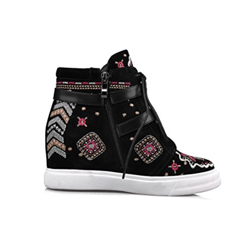 molino QPYC zapato interior zapato Botas Zapatos ayuda hebilla toma bordado alto arena black Cinturón Señoras corto aumento alta 55FrHqBS