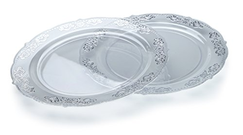 OCCASIONS 120 PACK, Vintage Party Heavyweight Disposable Wedding Party Plastic Plates (10.25'' Dinner Plate, Portofino Clear/Silver) by OCCASIONS FINEST PLASTIC TABLEWARE