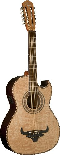 Oscar Schmidt OH32SEQN Acoustic-Electric Bajo Quinto with Burled Maple Top and Deluxe Gig Bag - Natural by Oscar Schmidt