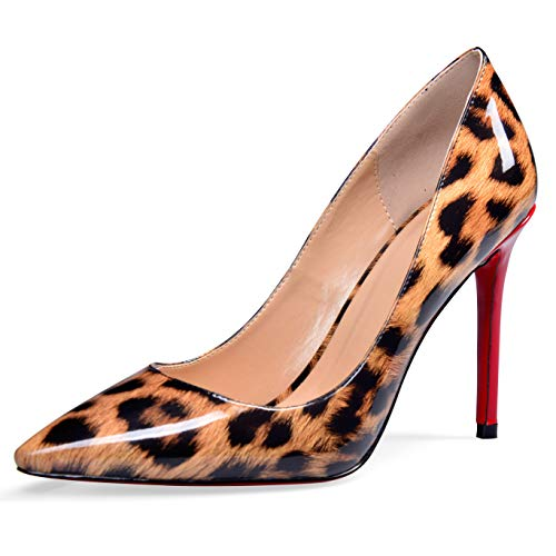(YODEKS Women's Pointed Toe Patent Leather Pumps High Heel Animal Print Shoes Leopard US10)