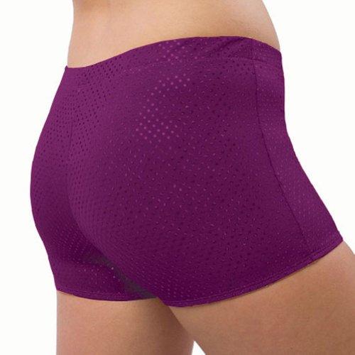 Pizzazz Girls Purple Sequin Boy Cut Brief Cheer Dance Shorts 6-8