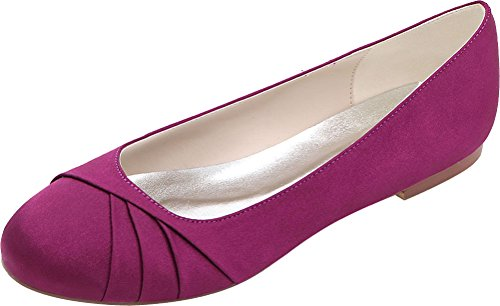 Round Pumps Satin Casual Flat 10 Toe Slip White Womens Comfort On Purple 9872 Vimedea wTqtISx