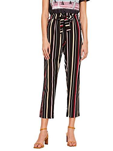 Straight Leg Crop Pant - WDIRARA Women's Fashion Striped Elastic Waist Tie Knot Straight Leg Crop Pants Multicolor M