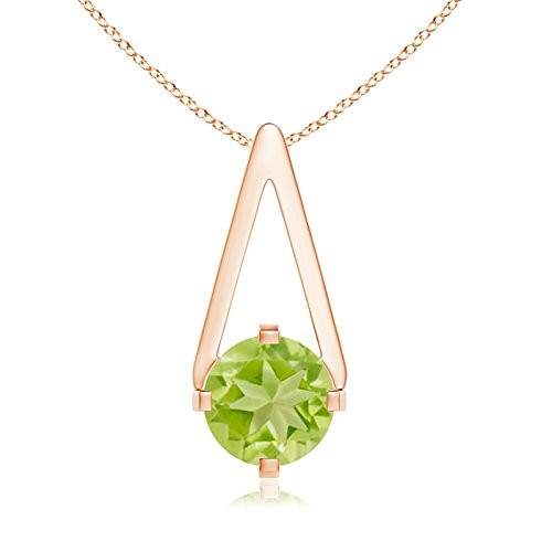 Flat Prong-Set Solitaire Peridot Triangle Pendant Necklace for Women in 14K Rose Gold (6mm Peridot) (Triangle Pendant Peridot)