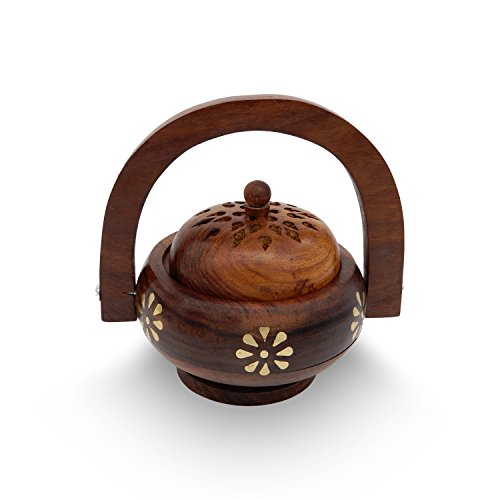 (IndiaBigShop Wooden Hnadmade Incense Burner Wooden floral Decorated Charcoal Censer Burner with Handle for Use with Resin Granular or Powder Incense Incense Ash Catcher Tray 6.8)