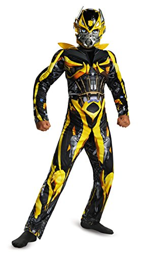 Disguise Hasbro Transformers Age of Extinction Movie Bumblebee Classic Muscle Boys Costume, Medium/7-8
