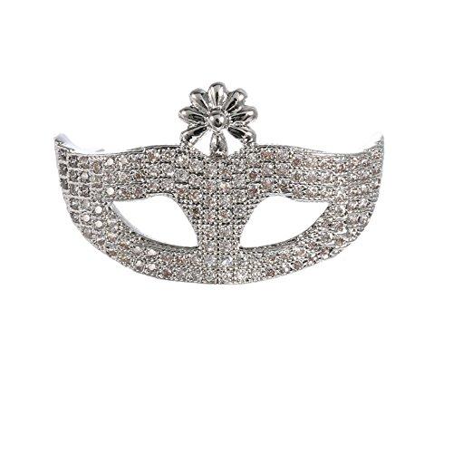Brooch Pins, Silver Tone Rhinestone Mask Brooch For Women Man - Phoebe Glasses