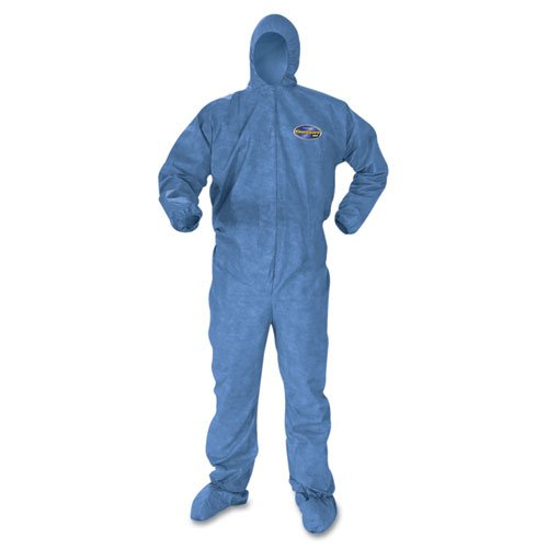 KIMBERLY-CLARK PROFESSIONAL* KLEENGUARD A60 Elastic-Cuff & Back Hood & Boot Coveralls, Blue, 2XL - 24 pairs of coveralls.
