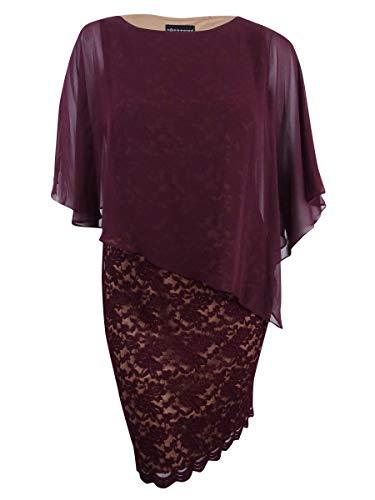 (Connected Women's Plus Size Lace Cold-Shoulder Cape Dress (20W, Bordeaux/Gold))