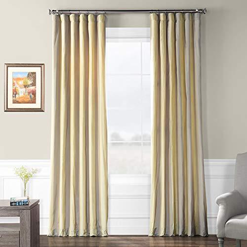 PTS-SLK702A-96 Faux Silk Taffeta Stripe Curtain, 50 X 96, Riviera