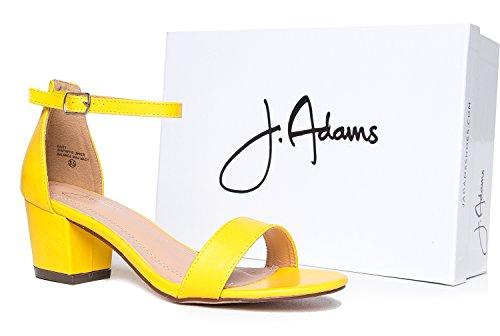 J. Adams Cinturino Alla Caviglia Cinturino Alla Caviglia - Adorabile Tacco Basso A Blocchi - Margherita Di Giallo Pu